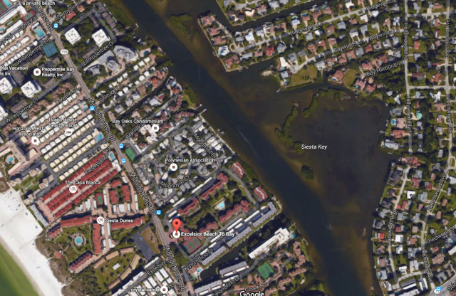 An aerial map shows the location of the Excelsior complex and Baywinds Lane across the Intracoastal Waterway. Image from Google Maps