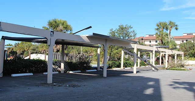 A parking area at Excelsior Beach to Bay was among the Siesta facilities damaged by the Jan. 17 tornado. File photo