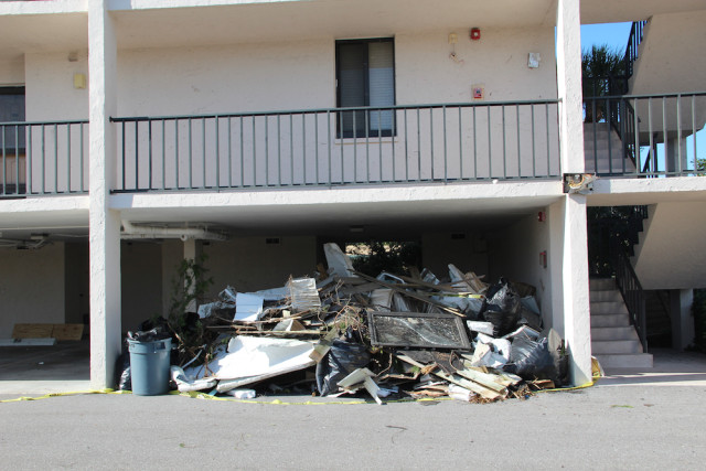 Storm debris remained under the Excelsior Gulf-side building on Jan. 19. Rachel Hackney photo