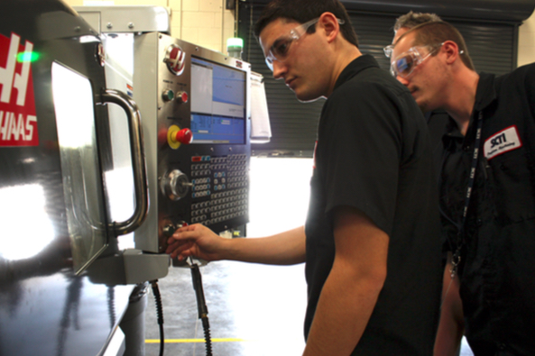 Students work with HAAS equipment. Photo courtesy Sarasota County Schools