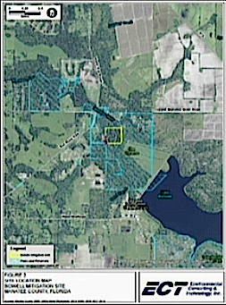 A map shows the area in Manatee County where the environmental mitigation is planned. Image courtesy Sarasota County