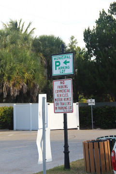 The sign at the Municipal Lot states trailers are not allowed. Rachel Hackney photo