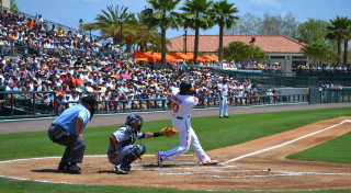 Adam Jones bats for the Orioles at Ed Smith Stadium. File photo