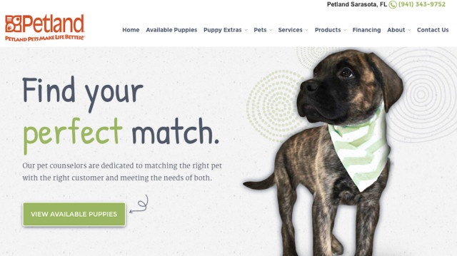 Petland Sarasota has this banner on its website.