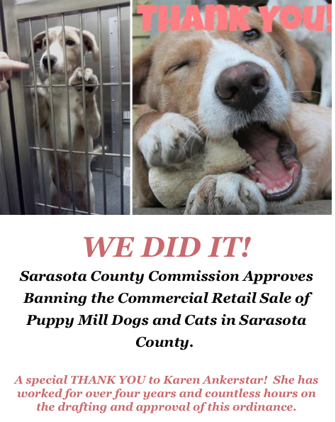 Sarasota in Defense of Animals sent out a thank-you email to supporters of the ban after the commission approved it. Image courtesy Sarasota in Defense of Animals