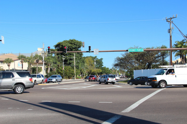 Traffic enters the intersection of Stickney Point Road and Midnight Pass Road on Siesta Key. File photo