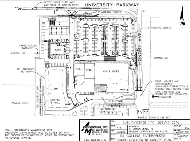 An engineering drawing shows the Whole Foods/Wawa site plan. Image courtesy Sarasota County