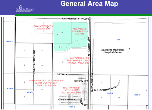 A graphic shows the general area where the new Whole Foods will be built. Image courtesy Sarasota County