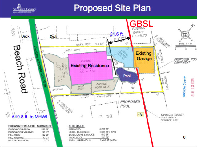A graphic shows the site plan at 113 Beach Road. Image courtesy Sarasota County