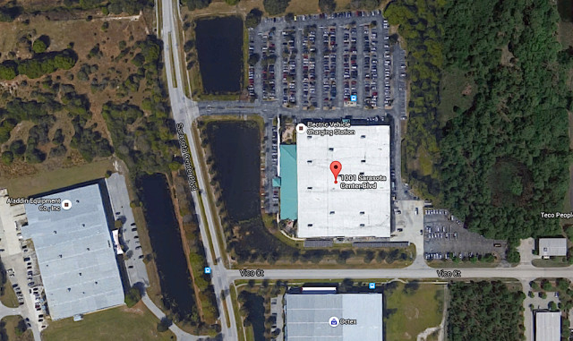 An aerial view shows the BOB building in eastern Sarasota County. Image from Google Maps