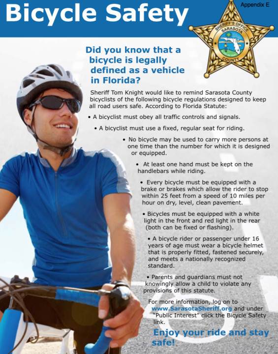 The master plan proposes an informational flyer about bicycle laws be given to each visitor who rents a bicycle. Image courtesy Sarasota County Sheriff's Office