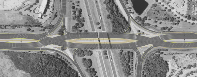 This is an FDOt rendering of the diverging diamond interchange under way at University Parkway. Image courtesy FDOT