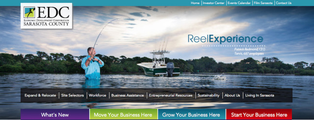 The Economic Development Corp. of Sarasota County website provides links to pages about its work. Image from the website