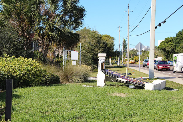 A sign for the Excelsior Beach to Bay complex remains down on the Gulf side on Jan. 19. News Leader photo