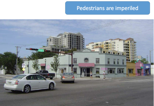 A graphic shows concerns about pedestrians trying to cross the road. Image courtesy City of Sarasota