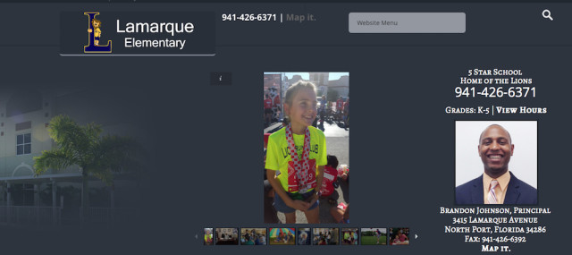 The Lamarque Elementary School website banner features a student runner. Image from the website