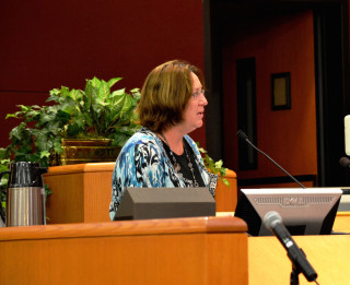 Lori Muldowney speaks to the County Commission in 2014. File photo