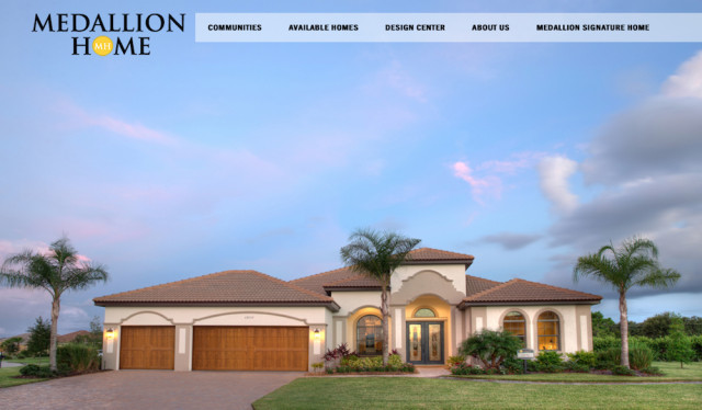 The banner on the Medallion Home website shows an example of the firm's houses. Image from the website