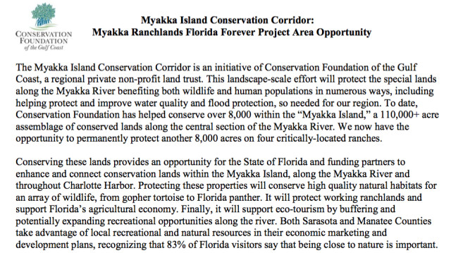 Material provided to the County Commission explains the Myakka Islands Conservation Corridor plan. Image courtesy Sarasota County