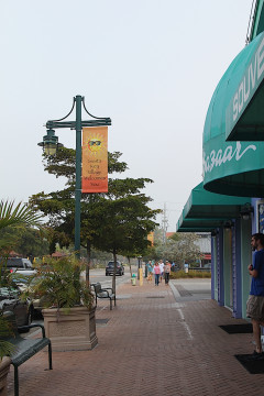 A new Village banner greets visitors outside Beach Bazaar. Rachel Hackney photo