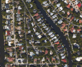 An aerial map shows the St. Albans and Oxford Drive on Siesta Key. Image from Google Maps