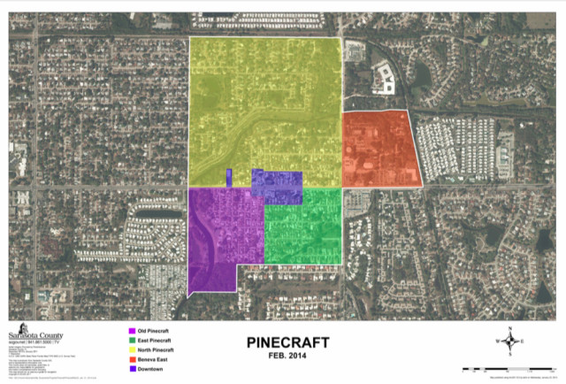 A recent graphic shows development around Pinecraft. image courtesy Sarasota County