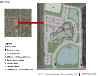 School district staff showed this North Port Suncoast Technical College site plan to elected officials in January. Image courtesy Sarasota County School Board