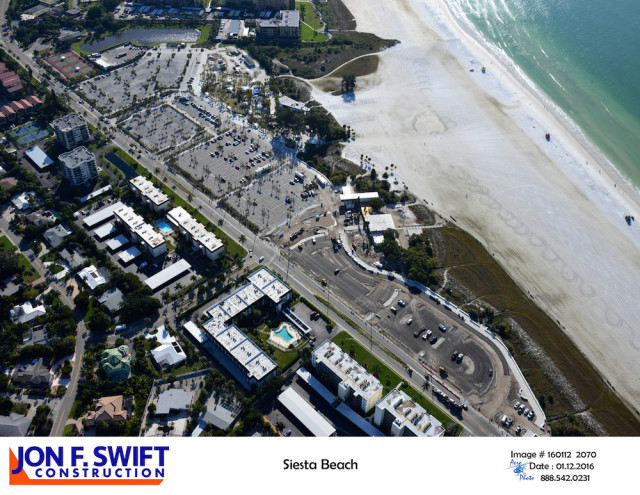 A Jan. 12 aerial the Jon F. Swift company provided the county shows the progress on the beach park improvements. Image courtesy Sarasota County