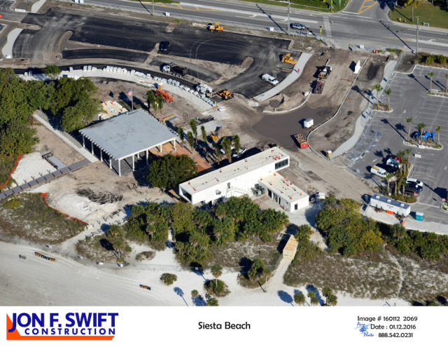 A second Jan. 12 aerial view shows the progress on the historic pavilion and the Public Safety Building. Image courtesy Sarasota County
