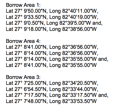 These coordinates released by the Coast Guard indicate the areas where the dredging will occur. Image courtesy U.S. Coast Guard