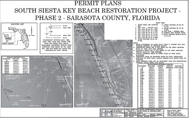 Permitting material shows details of the South Siesta Renourishment Project. Image courtesy Sarasota County