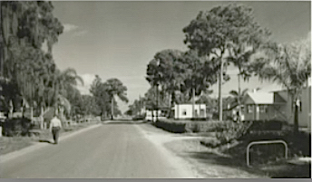 A photo from the 1950s shows a portion of Bahia Vista street with the Tourist Church on the right. Image courtesy Sarasota County