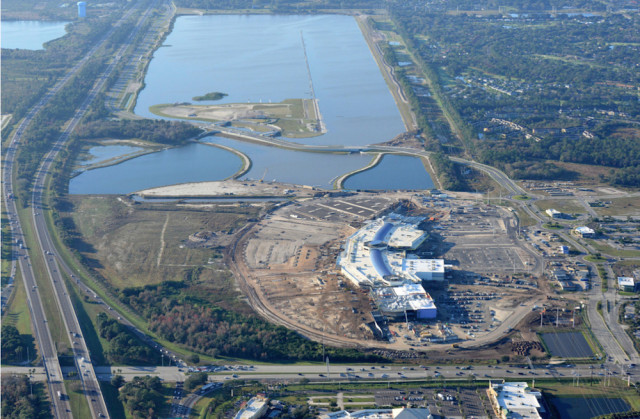 Benderson Park (upper part of the photo) is visible in March 2014, adjacent to the Mall at University Town Center, which was under construction. Photo courtesy Sarasota County
