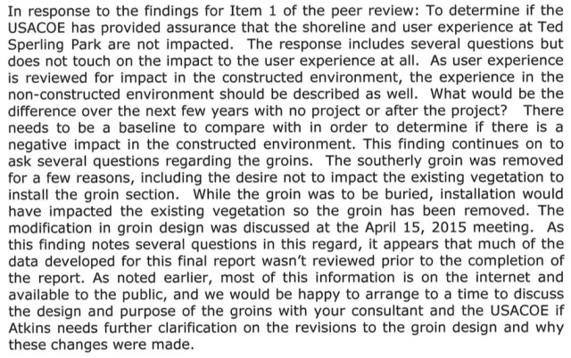 A section of DavisShaw's March 2 letter responds to item No. 1 in the Atkins peer review summary. Image courtesy Sarasota County