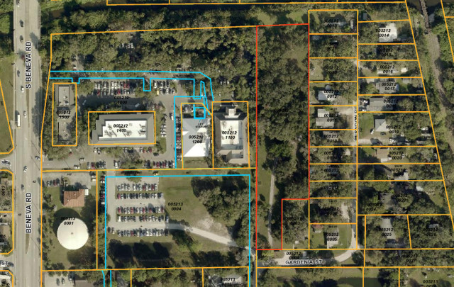 An aerial map shows the new parcel outlined in red next to the restaurant site. Image courtesy Sarasota County Property Appraiser