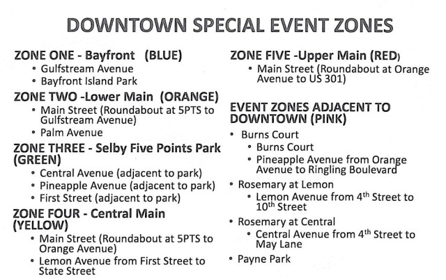 A chart lists downtown Sarasota special events for City Commission discussion on March 21. Image courtesy City of Sarasota