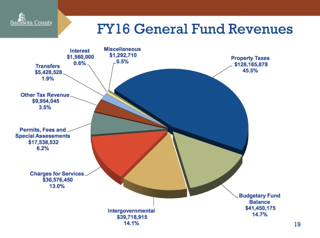 A pie chart shows revenue sources for the current fiscal year budget. Image courtesy Sarasota County