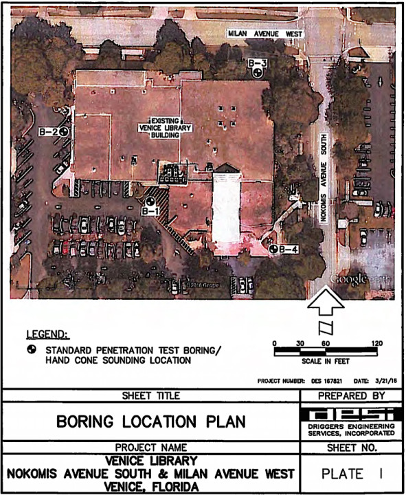 A graphic in a county report references the soil testing at the Venice Public Library site. Image courtesy Sarasota County