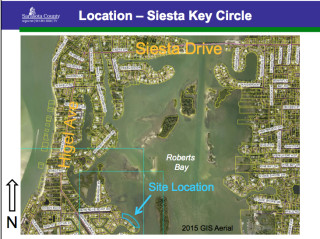 A graphic shows the area where the dock is proposed. Image courtesy Sarasota County