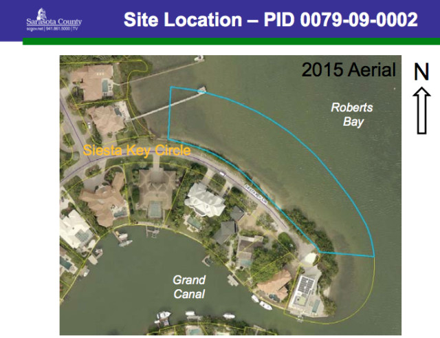 A close-up aerial shows the dock site on Siesta Key Circle. Image courtesy Sarasota County