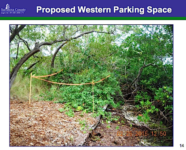 A county staff photo shows the area proposed for the western parking space for the dock. Image courtesy Sarasota County