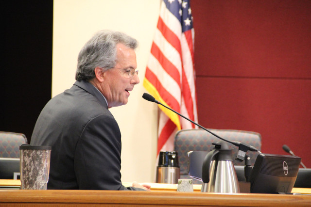 Coastal Initiatives Manager addresses the County Commission on March 23. Rachel Hackney photo