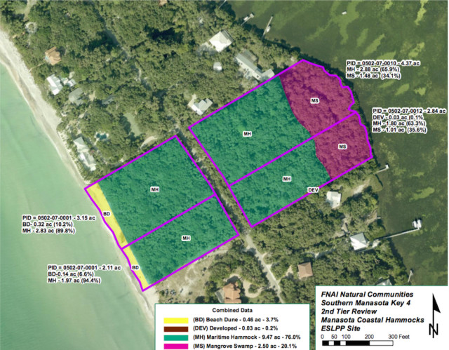 A county graphic shows the parcel (right) that was offered for sale this year. Image courtesy Sarasota County