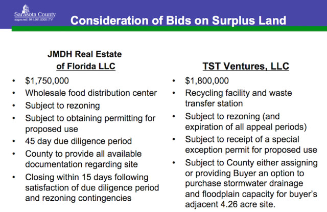 A graphic compares the two bids. Image courtesy Sarasota County