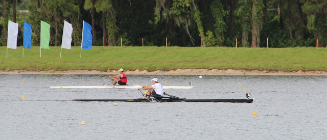 Rowers compete during the 2013 USRowing Masters Championships at Benderson Park. File photo