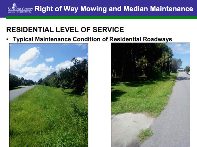 A graphic prepared for the County Commission in 2013 showed rights of way that are mowed in the county. Image courtesy Sarasota County