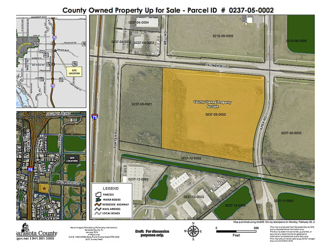 A map shows the site of the surplus property (in yellow). Image courtesy Sarasota County