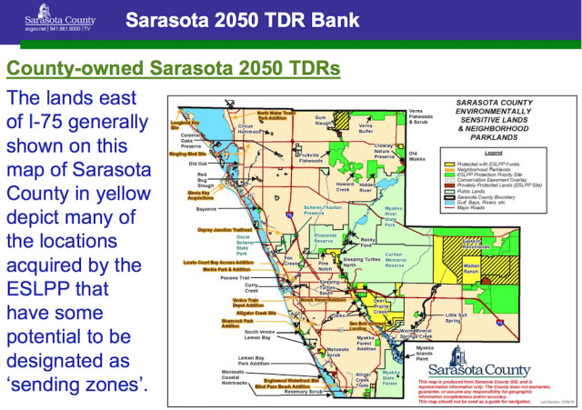 A graphic shows sites that could generate TDRs for the county's 'bank.' Image courtesy Sarasota County