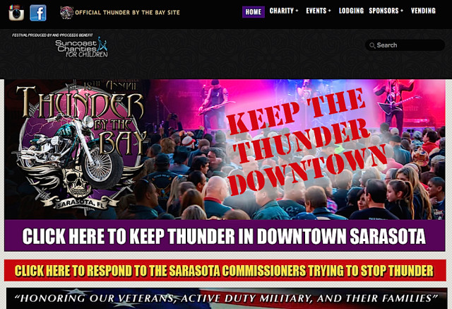 The Thunder By the Bay website encourages supporters of the event to help keep it in downtown Sarasota. Image from the website