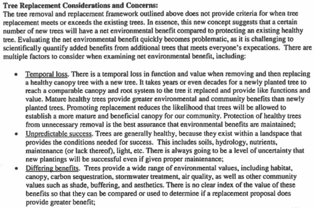 The staff report explains concerns about subjectivity in tree-removal situations. Image courtesy Sarasota County
